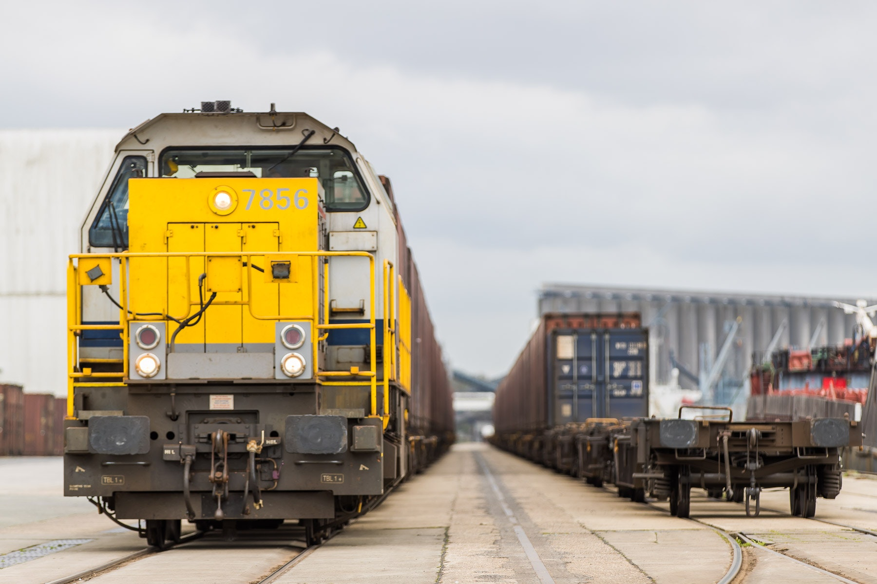 Lineas freight force, trains stationed at railway