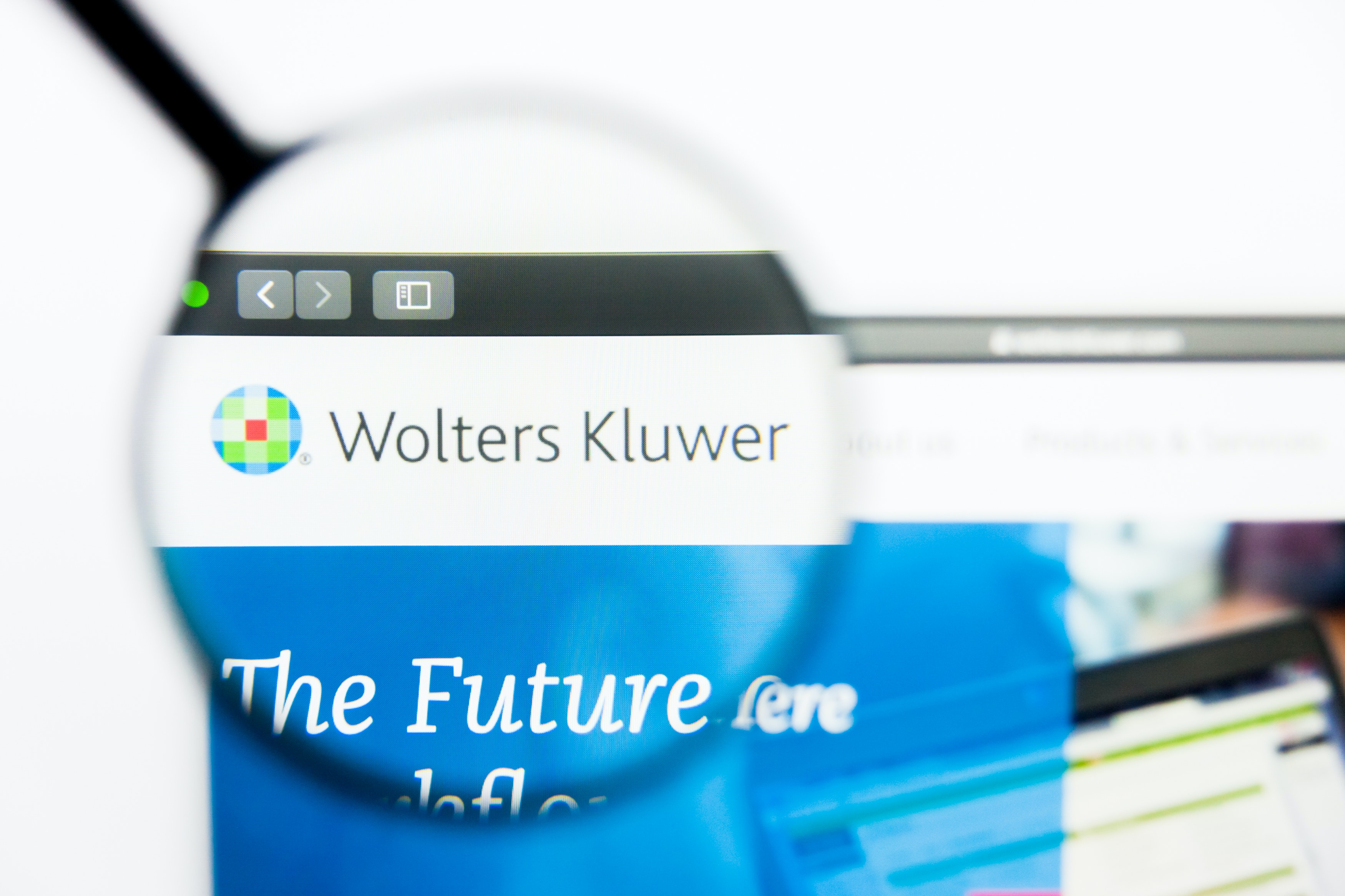 Wolters Kluwer in browser tab with magnifying glass