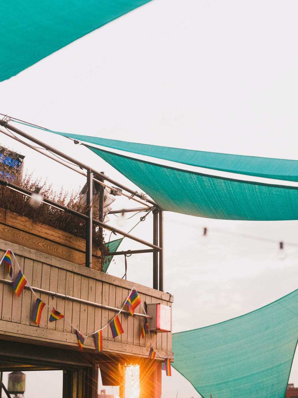 Shade sails on the rooftop