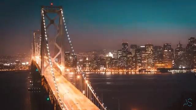 Skyline at night in San Francisco
