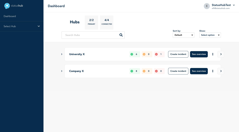 Status Page StatusHub Dashboard