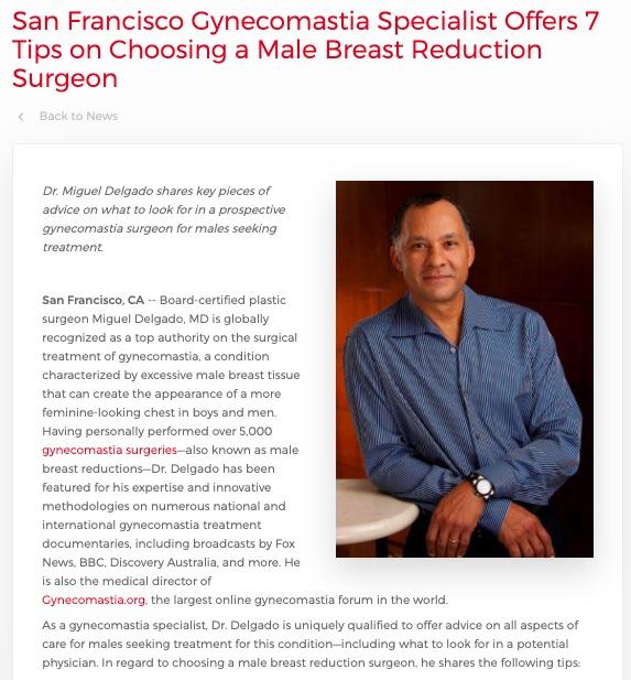 Dr. Miguel Delgado provides advice on selecting a gynecomastia surgeon.