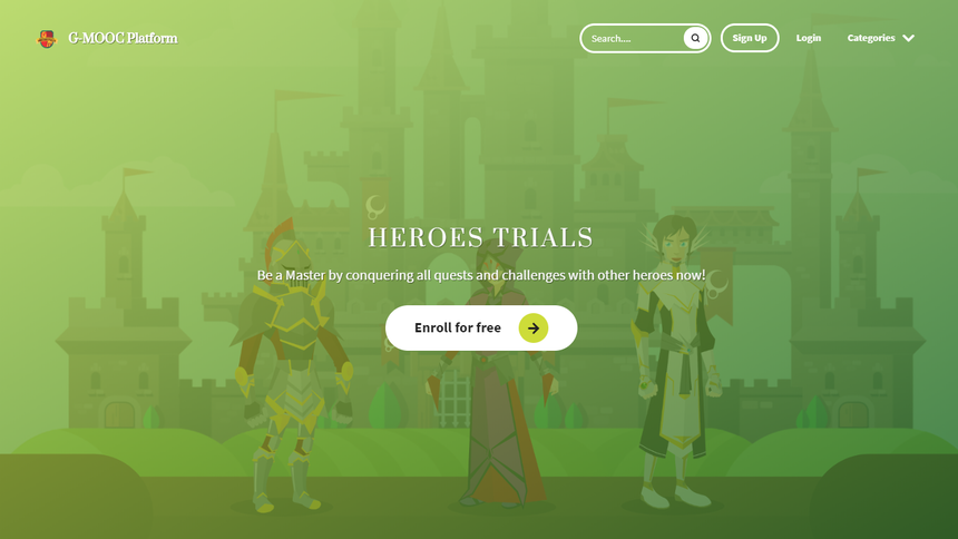 Hero section - homepage showing a button to enroll for free