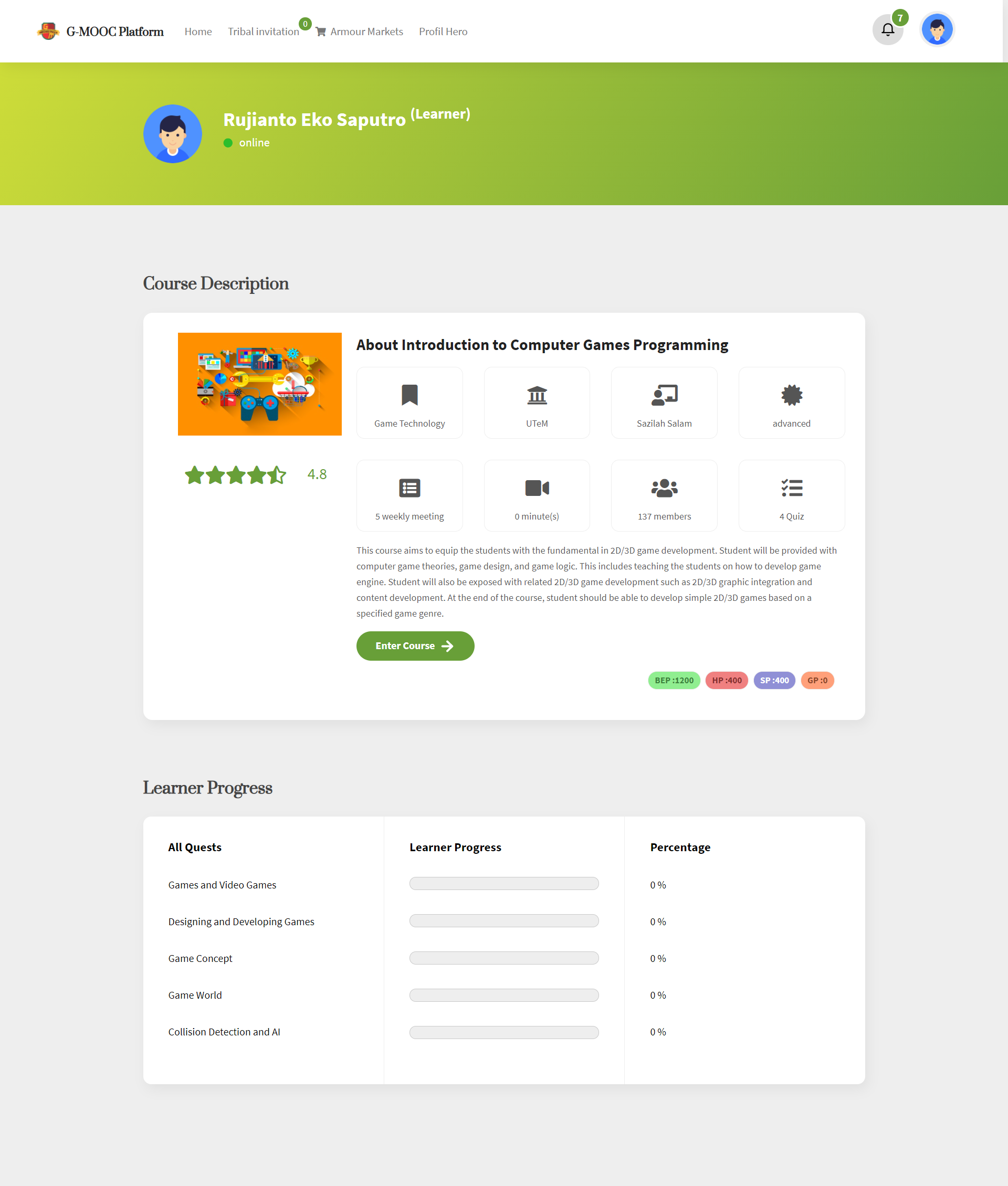 Learner course page