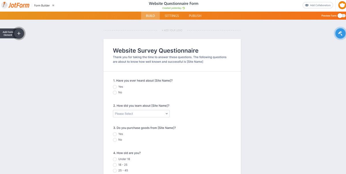 online website design questionnaire