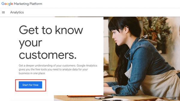 Start for free Google Analytics