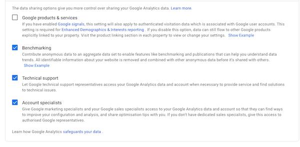 Data sharing information
