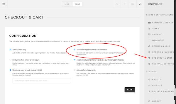 Setting up Google Analytics in Snipcart