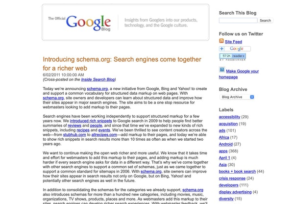 Schema org announcement article from Google