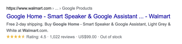"""Example of the product """"Google Home"""" appearing in Google search results, showing reviews, ratings, and stock supply."""