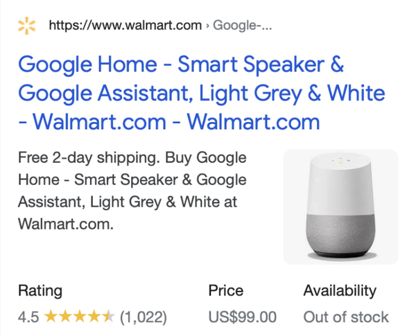 """""""Google Home"""" product example but for a mobile experience, which is adjusted to fit the same content plus a thumbnail of the product."""