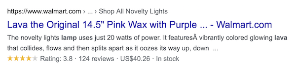 """Example of the product """"Walmart Lava Lamp"""" appearing in Google search results, showing reviews, ratings, and stock supply."""