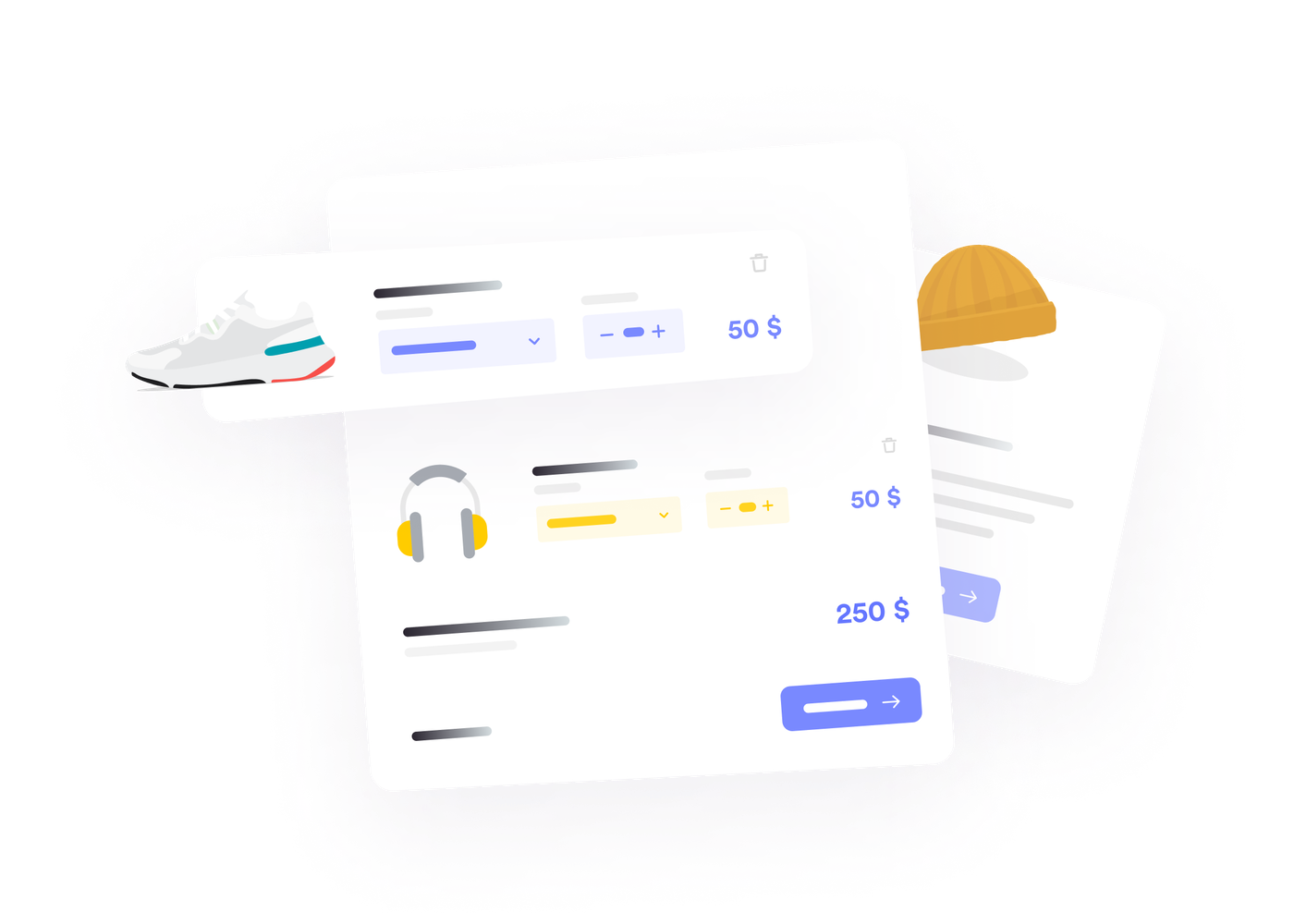 Illustration of physical products added in shopping cart
