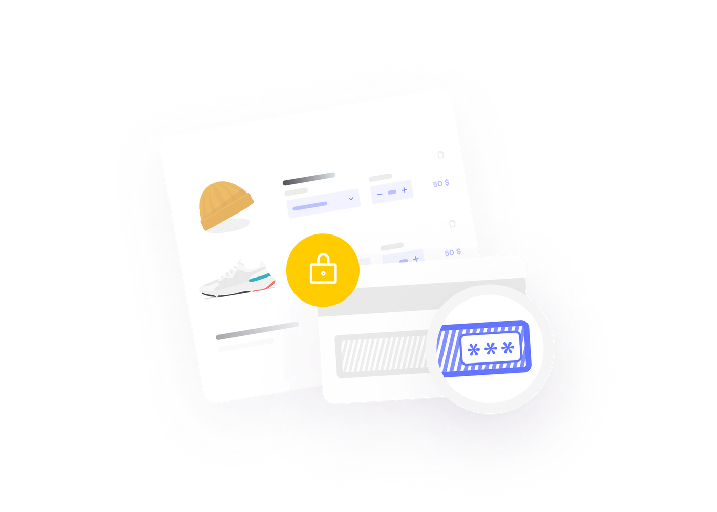 Illustration of the secure and quick checkout process