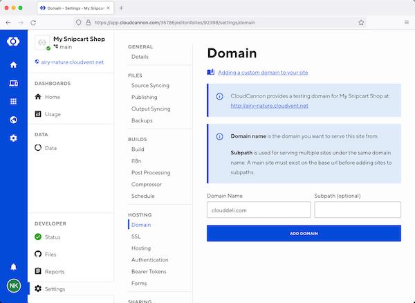 CloudCannon domain settings