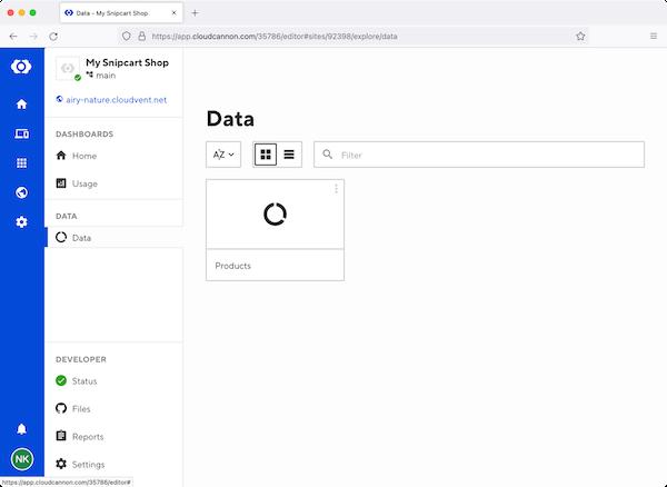 CloudCannon dashboard data