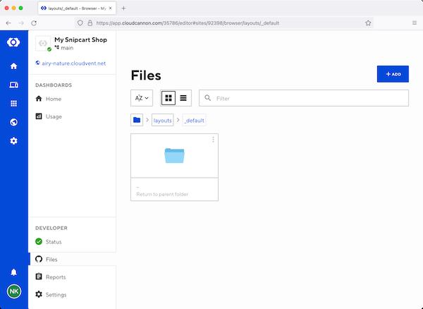 CloudCannon dashboard files