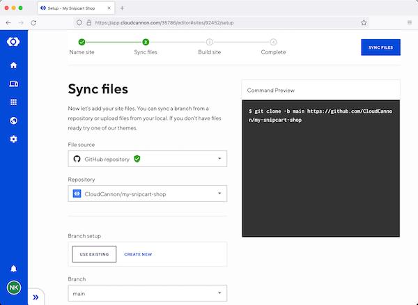 CloudCannon dashboard sync files