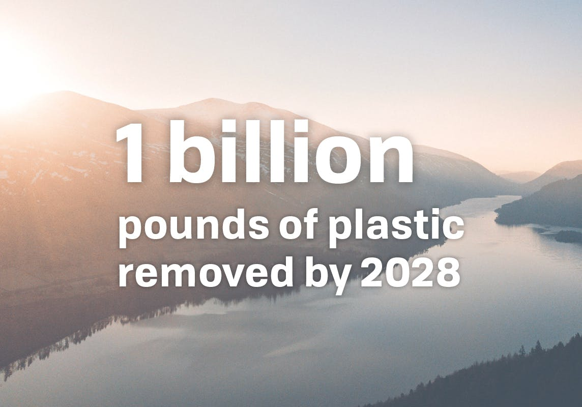 1 billion pounds of plastic removed by 2028