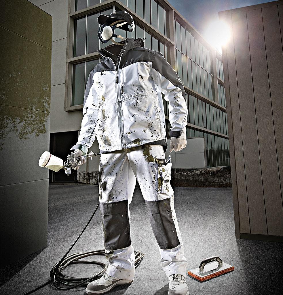 Witte werkkleding voor stucadoor werkzaamheden