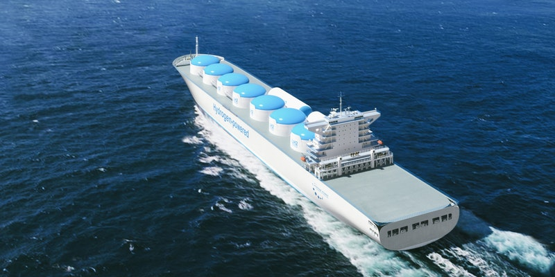 A ship carrying hydrogen fuel