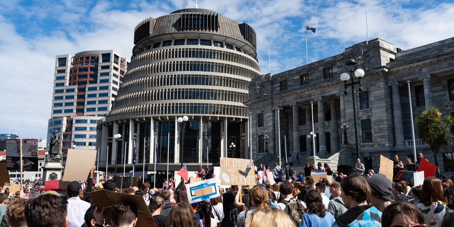 A school strike for climate protest in Wellington