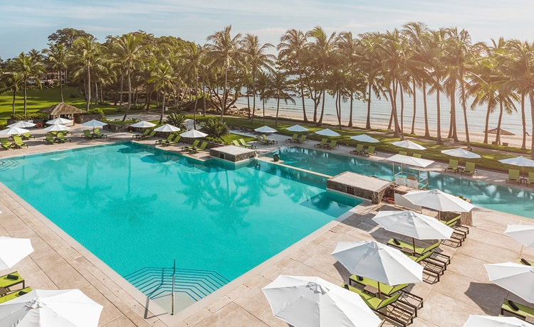 Beautiful outdoor pool at a tropical resort