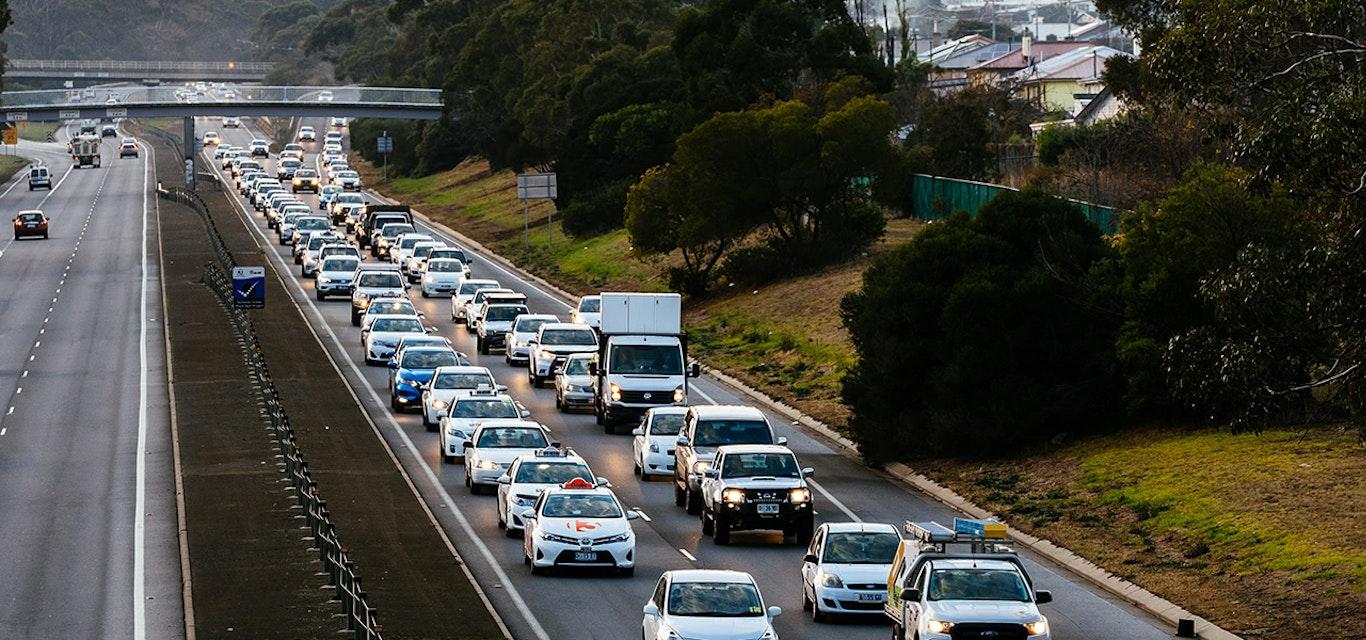 Traffic jam on Hobart highway