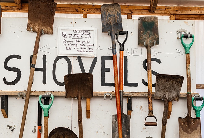 Shovels hanging on a shed wall