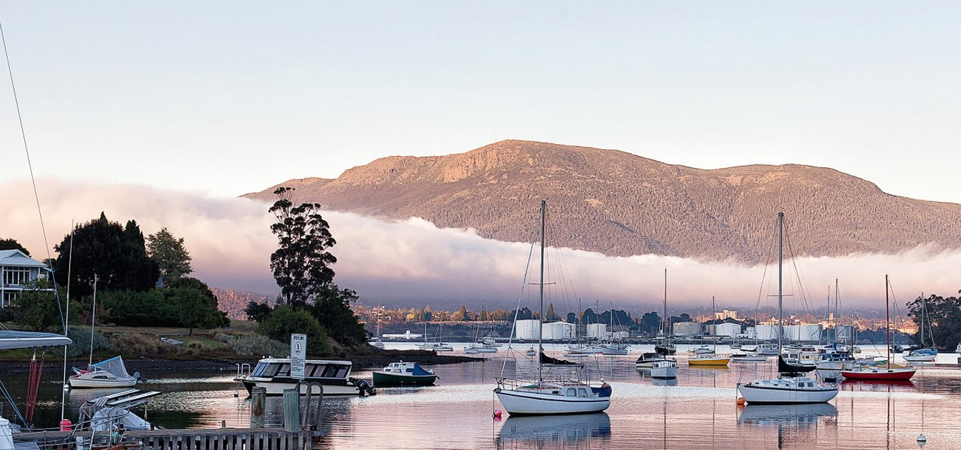 A view of Mount Wellington from Geilston Bay.