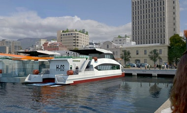 Rendered image of passenger ferries docked at Hobart waterfront