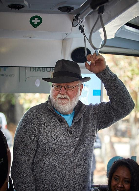 Man traveling on driverless bus