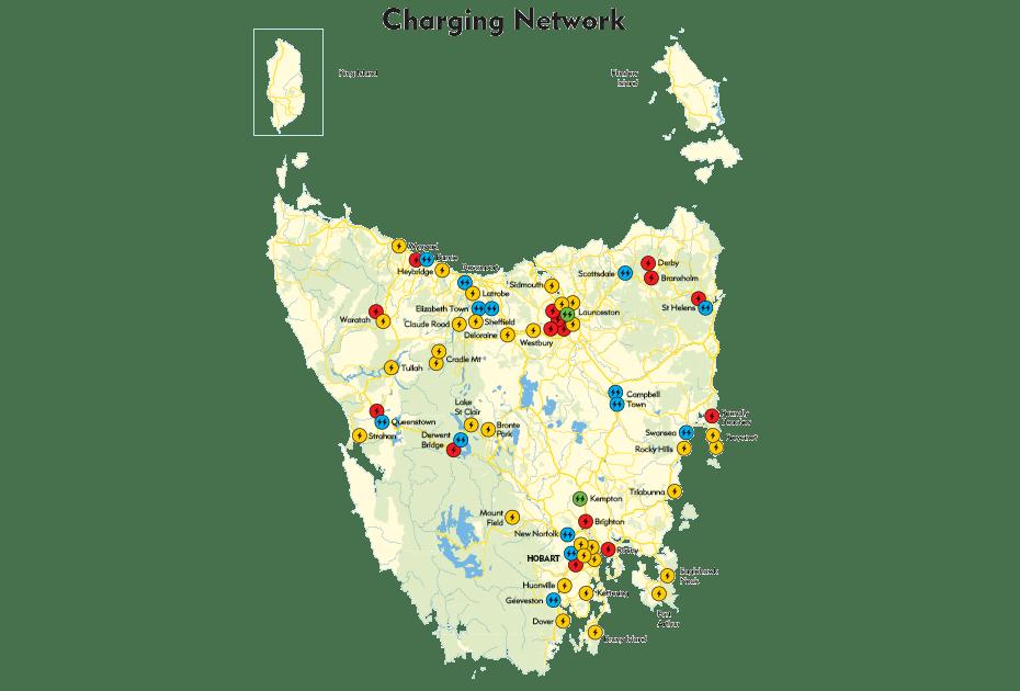 Tasmanian electric vehicle charging network map.