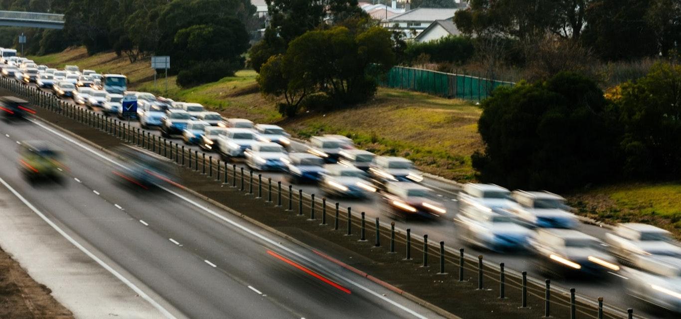 cars in traffic jam on highway
