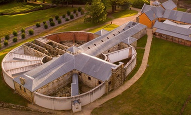 Aerial view ofsandstone prison at Port Arthur