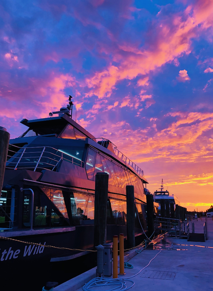 Spirit of the Wild boat with sunset