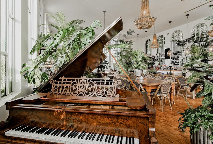 Inside view with piano