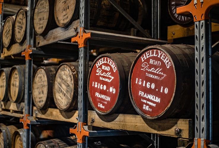 Whisky barrels at Hellyer's Road Distillery