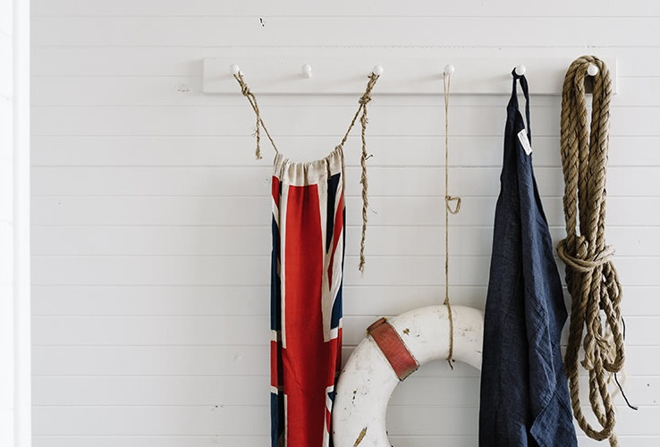Items hanging on a wall.