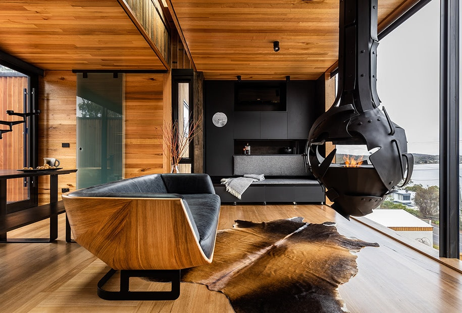 A luxurious interior with fireplace at The Pod, Lewisham