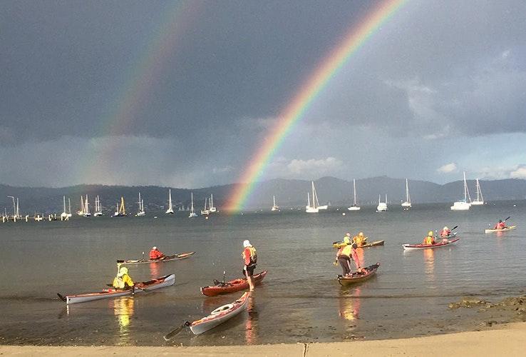 Kayakers at Sandy Bay.