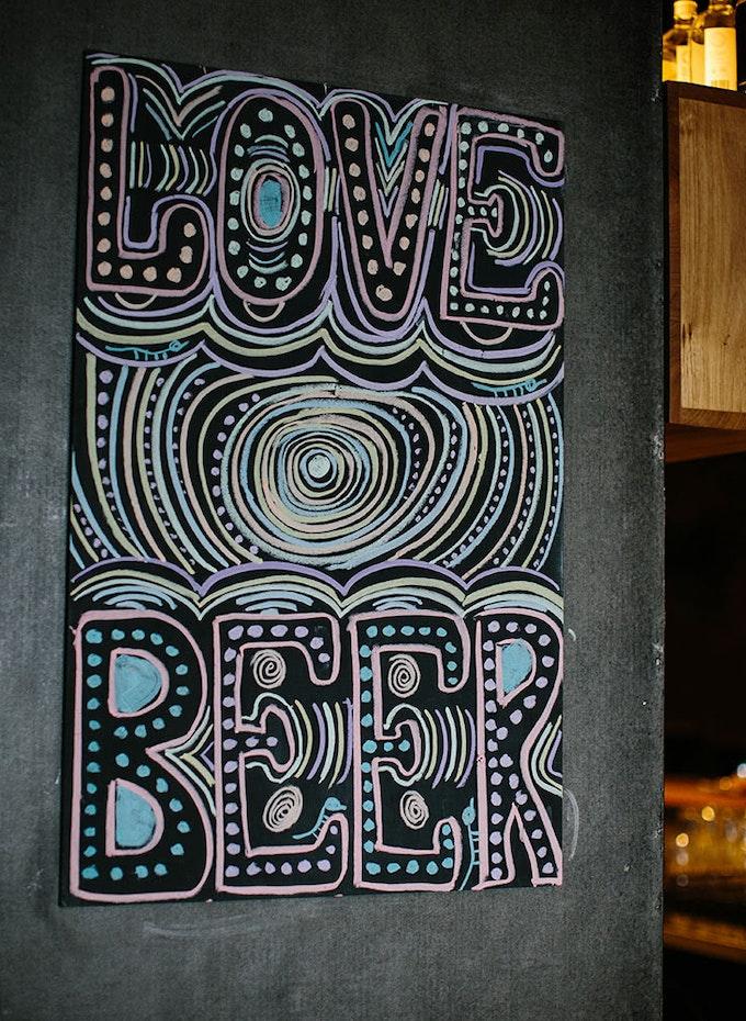 Funky chalk board mural inside