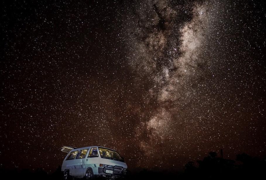 Under the night sky at Freycinet