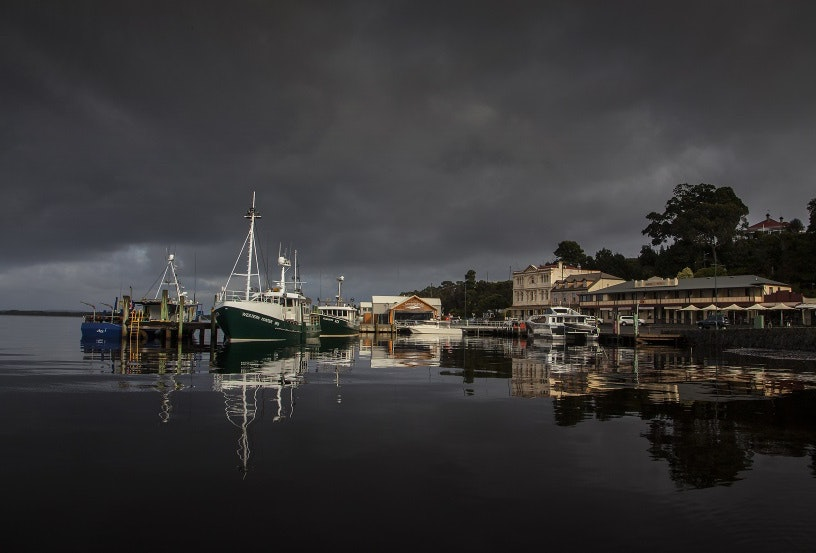 The wharf at Strahan on the state's west coast