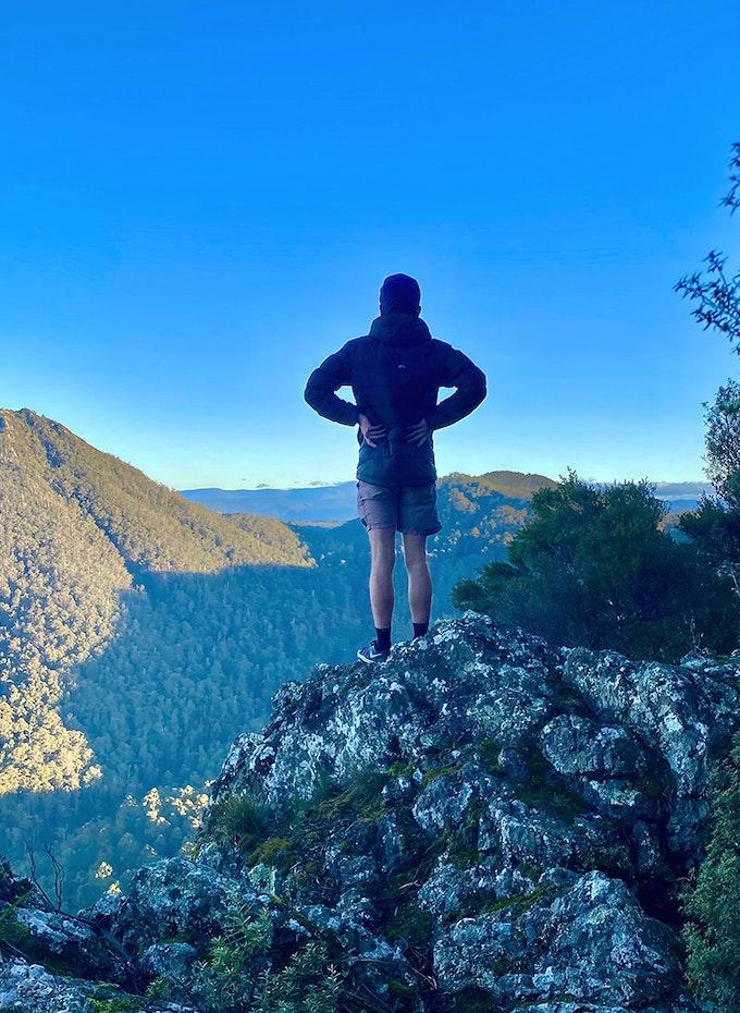 Man standing on top of Dial Range.