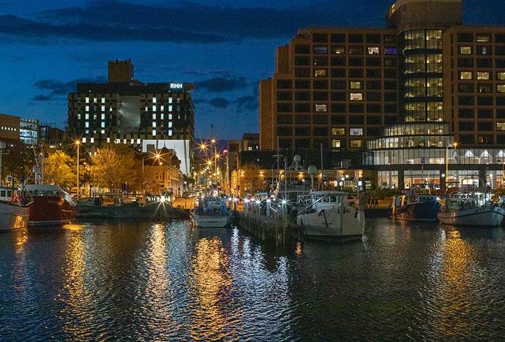 Hobart waterfront at night