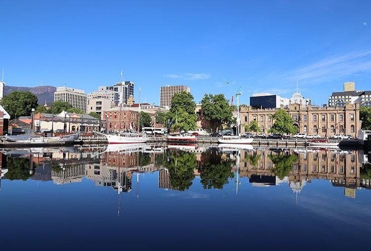 Morning reflections at the Hobart docks