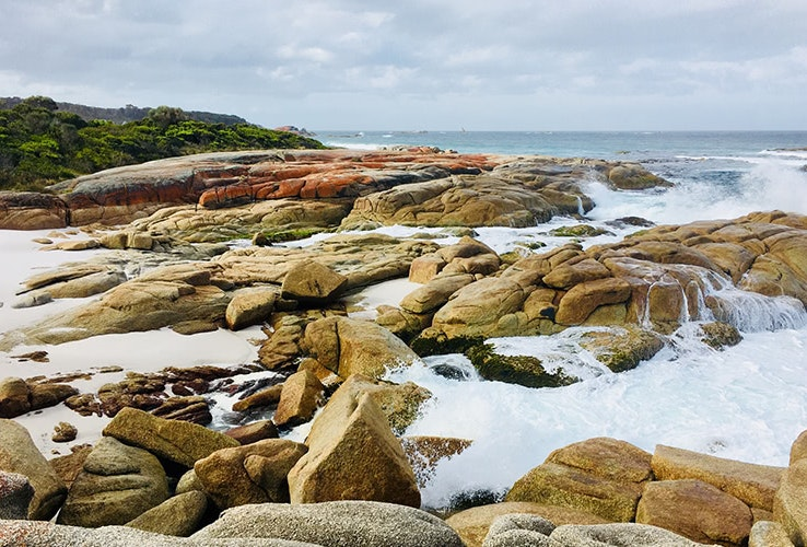 Waves crashing and lichen covered red rocks at Swimcart Beach, Bay of Fires