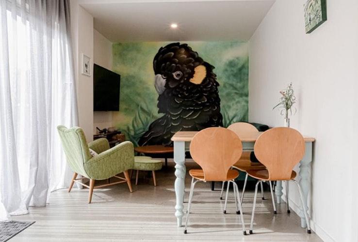 Black cockatoo painting in an Air BnB in Launceston