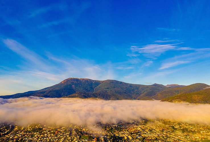 Morning cloud rolling in over Hobart and Mt Wellington